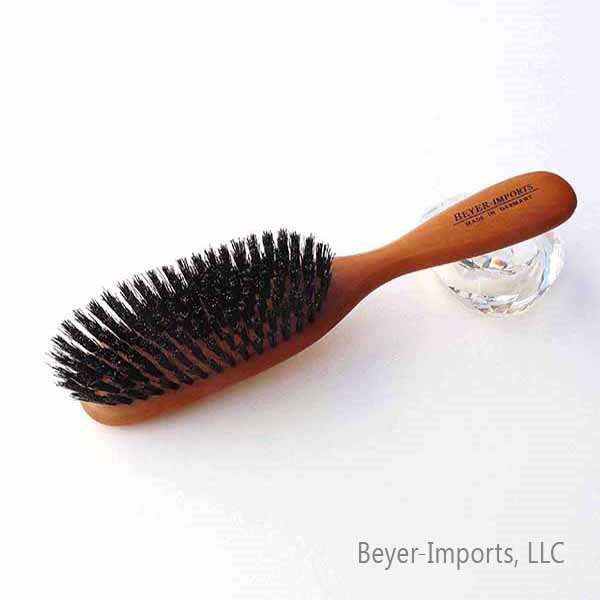 Paddle Hairbrush, narrow shaped w/ Pure Boar Bristles, Pear wood #030-LN